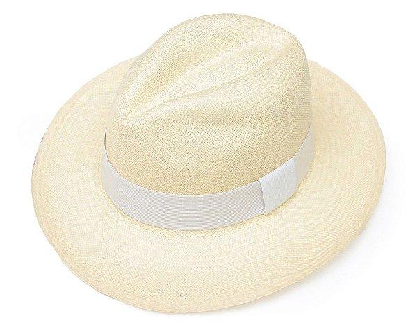 Chapéu Panamá Palha Natural Montecristi Faixa Branca