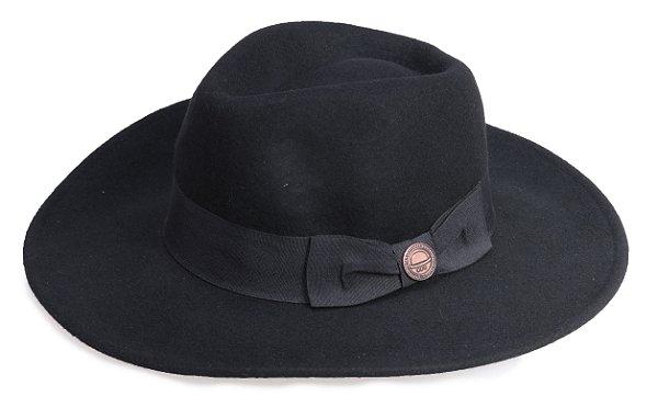 Chapéu Fedora Preto Aba Grande 8,5cm Levemente Maleável 100% Lã