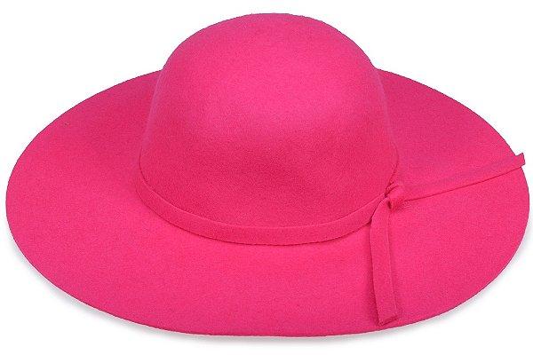 Chapéu Floppy Rosa Pink Aba Grande 100% Lã