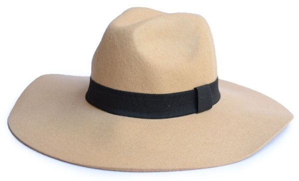 Chapéu Fedora bege Aba Grande Maleável 10cm 100% Lã