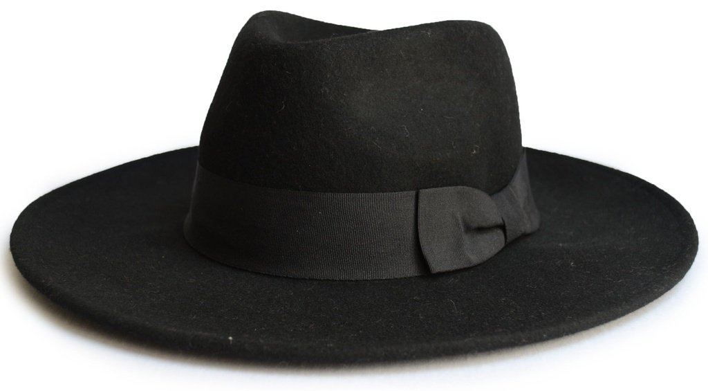 Chapéu Fedora Preto Aba 8 cm 100% Lã