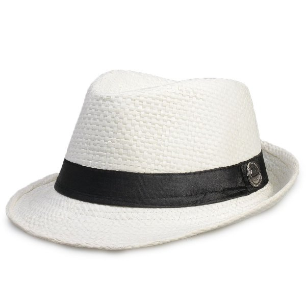Chapéu Fedora Palha Branco Estilo Panamá Aba Curta 4 cm Infantil