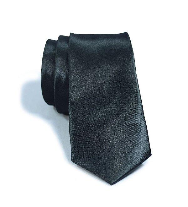 Gravata Slim Fit Preta Masculina