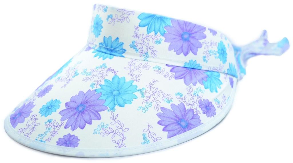 Viseira Para praia Floral Branca Azul Roxa