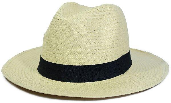 Chapéu Fedora Estilo Panamá Palha Escura Sintética Faixa Preta