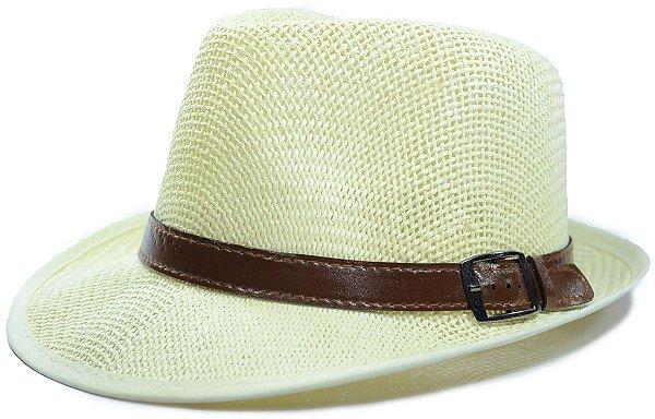 Chapéu Fedora Palha Sintética Vazado Aba Curta Creme