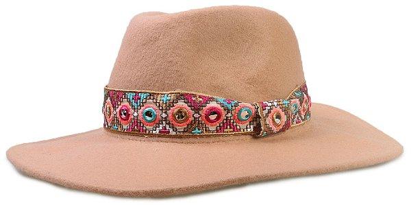 Chapéu Feminino Fedora Bege Feltro Aba 9cm Faixa Colorida 100% lã