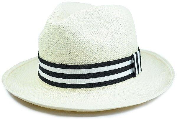 Chapéu Panamá Aba Média Faixa Listrada Preta e Branca