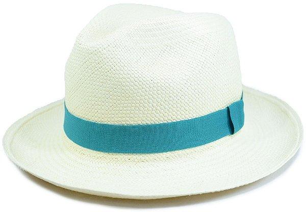 Chapéu Panamá Aba Média Faixa Verde-Água