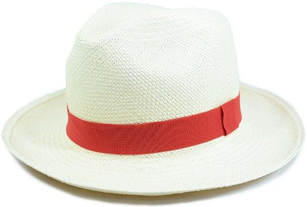 Chapéu Panamá Aba Média Faixa Vermelha