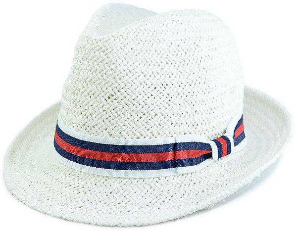 Chapéu Fedora Estilo Panamá Aba Curta Branco Palha Sintética Faixa Azul e Vermelha