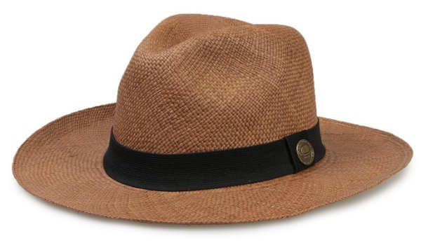 Chapéu Panamá Legítimo Caramelo Aba Grande Faixa Preta