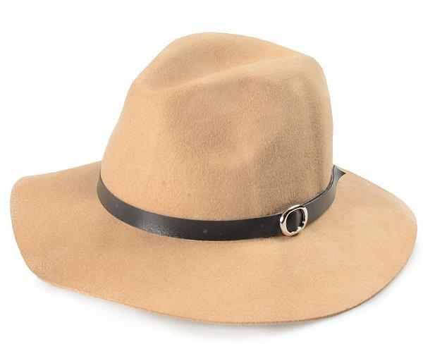 Chapéu Fedora Bege Aba Maleável  7cm
