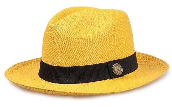 Chapéu Panamá Colorido Amarelo Aba Média Palha Toquilla