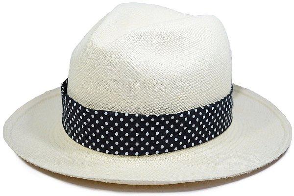 Chapéu Panamá Aba Média Faixa Customizada Preta Bolinhas