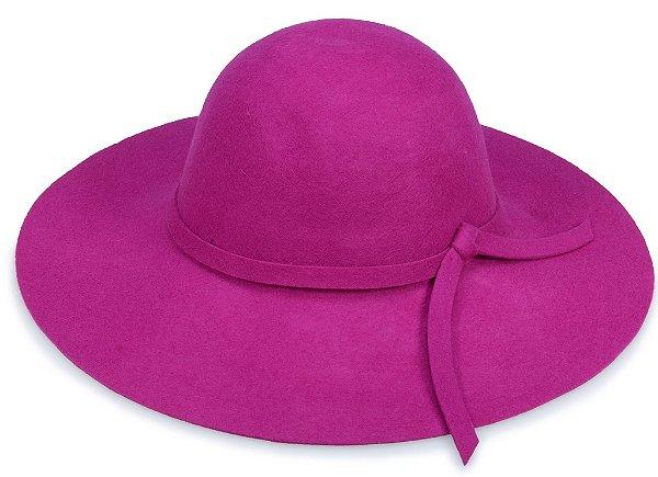 Chapéu Floppy Aba Grande Violeta 100% Lã