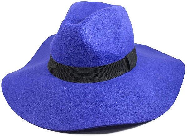 Chapéu Fedora Feminino Floppy Aba Grande Azul 100% lã