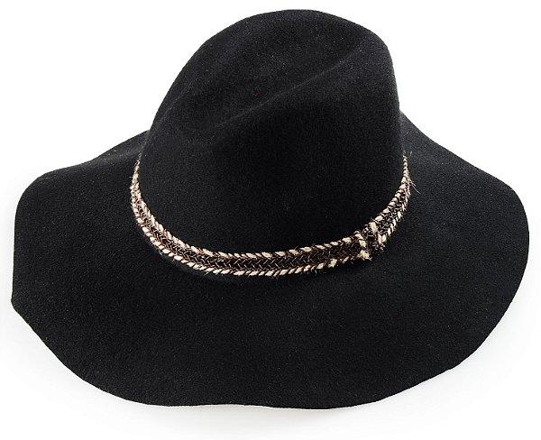 Chapéu Fedora Preto 100% lã Aba Grande Maleável 10cm Faixa Especial