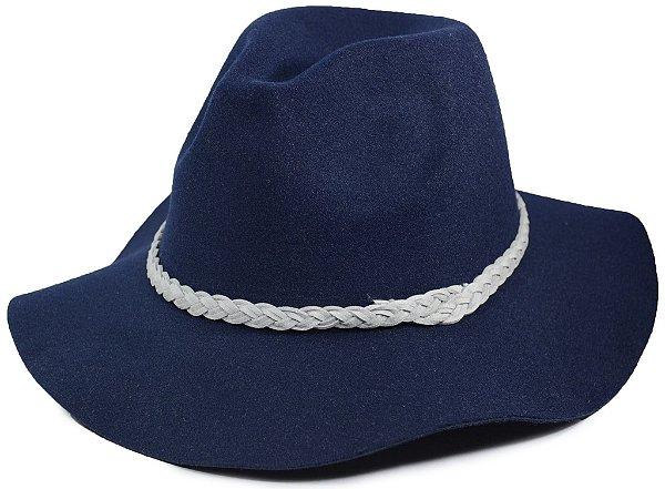 Chapéu Fedora Azul Marinho Feltro Aba Média Faixa Trançada
