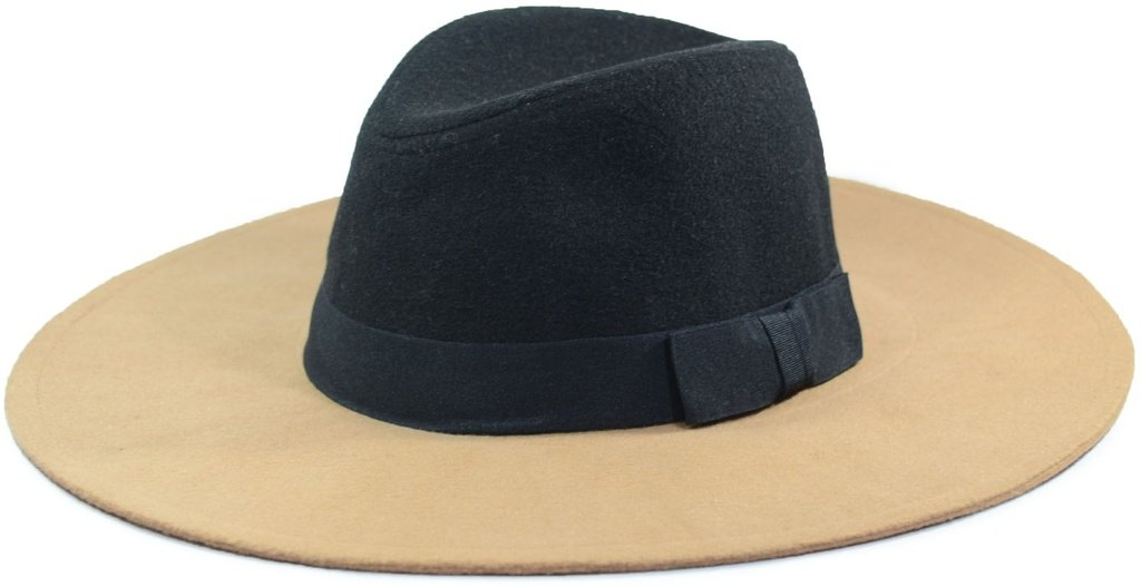 Chapéu Fedora Feltro Aba Grande 10cm Maleável Bege e Preto