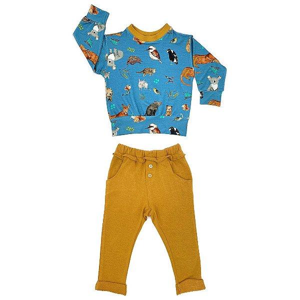Conjunto infantil blusa estampada