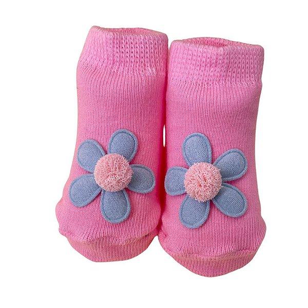 Meia infantil flor pink