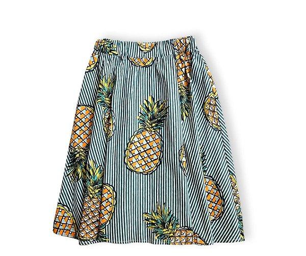 Saia midi abacaxi verde