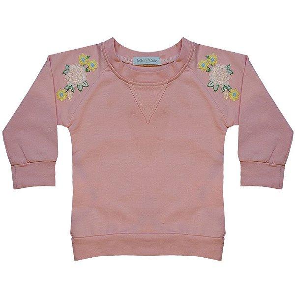 Moletom infantil rosa bordado