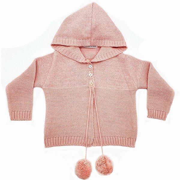 Casaco tricô capuz pompom rosa