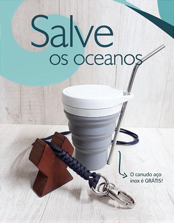 Kit Lanyard azul-marinho #salveosoceanos + canudo aço inox grátis!