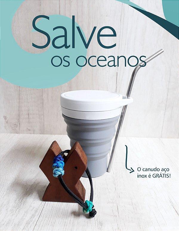 Kit Pulseira Náutica #salveosoceanos + canudo aço inox grátis!