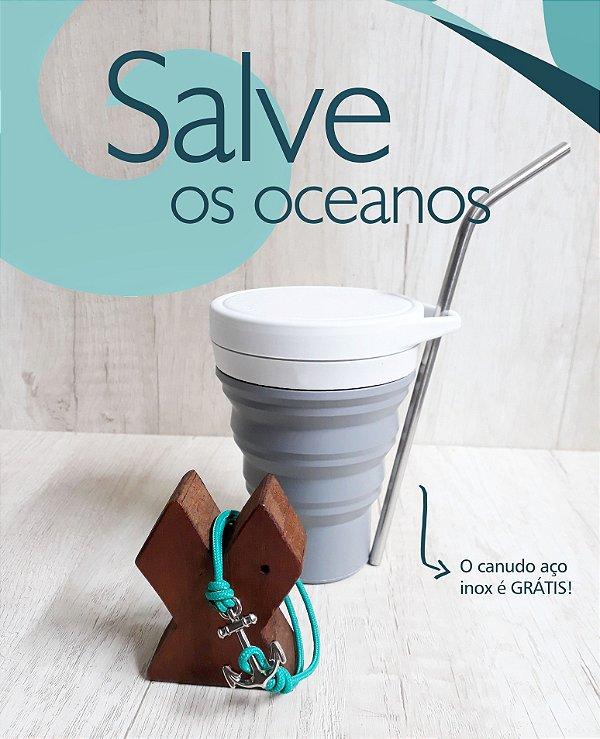 Kit Pulseira Âncora #salveosoceanos  canudo aço inox grátis!