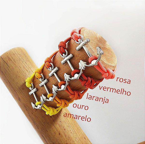 Pulseira Âncora - Rosa / Vermelho / Laranja / Ouro / Amarelo