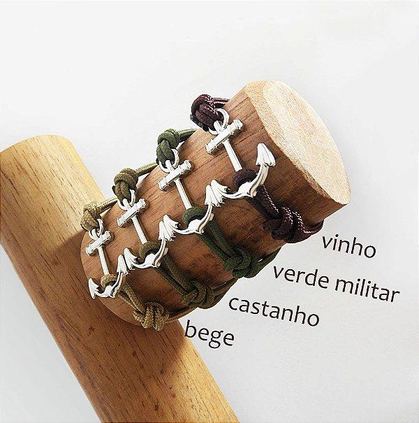 Pulseira Âncora - Vinho / Verde Militar / Castanho / Bege