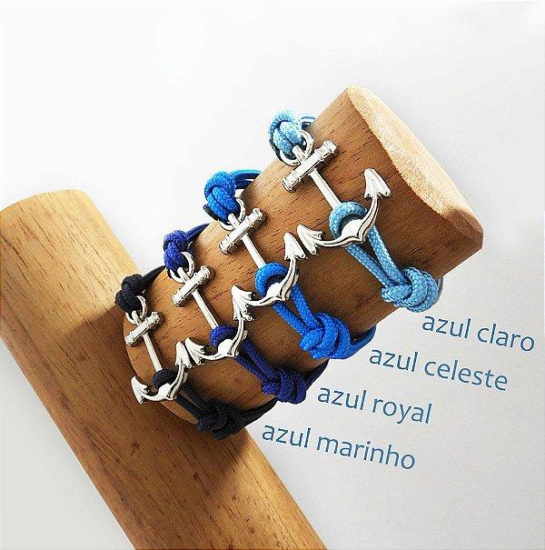 Pulseira Âncora - Azul Claro / Azul Celeste / Azul Royal / Azul Marinho