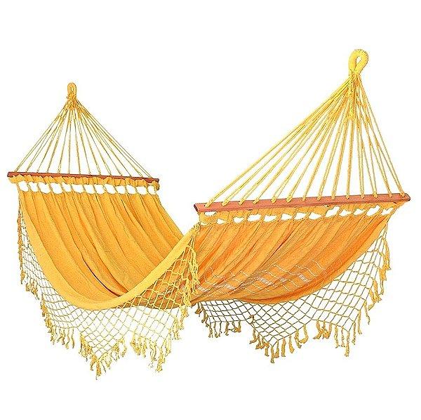 Rede De Dormir Descanso Amarela Com madeira