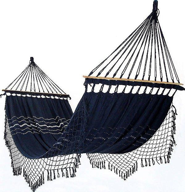 Rede De Dormir e Descanso Para Casal Azul Marinho 100% Algodão Com Madeira