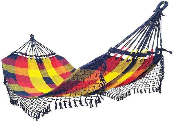 Rede De Dormir Descanso 100% Algodão Colorida vermelho, amarelo e azul xadrez