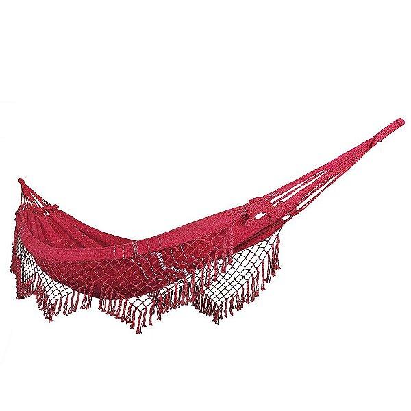 Rede De Dormir Descanso 100% Algodão Vermelho Mesclado