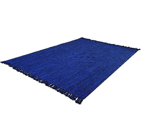 Tapete Azul 2,00 X 1,50 Sala Quarto Artesanal Em Algodão Liso