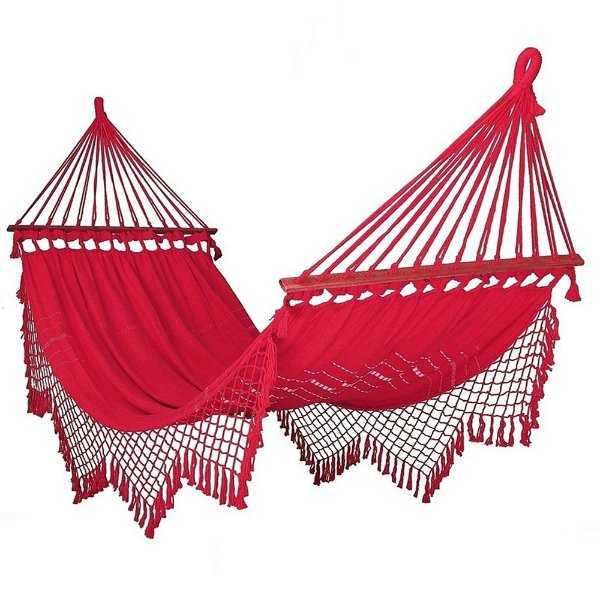 Rede De Dormir Descanso Vermelha Com madeira