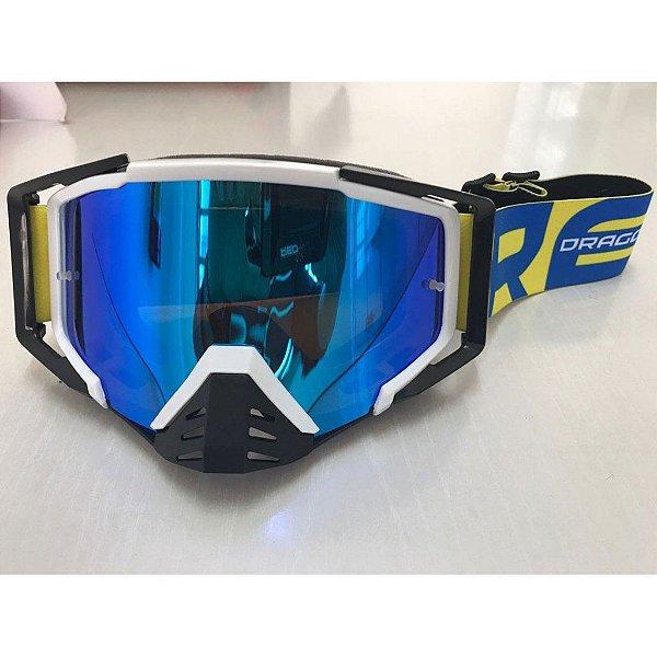Óculos Capacete MotoCross Red Dragon EFX YH-105 BP Branco Preto Lente espelhada Azul