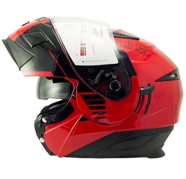 Capacete Moto Zeus Ab12 Escamoteável Cruiser Solid Red Blk