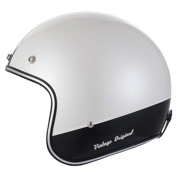 Capacete Moto Zeus Vintage 380H K25 Pearl White Black Aberto