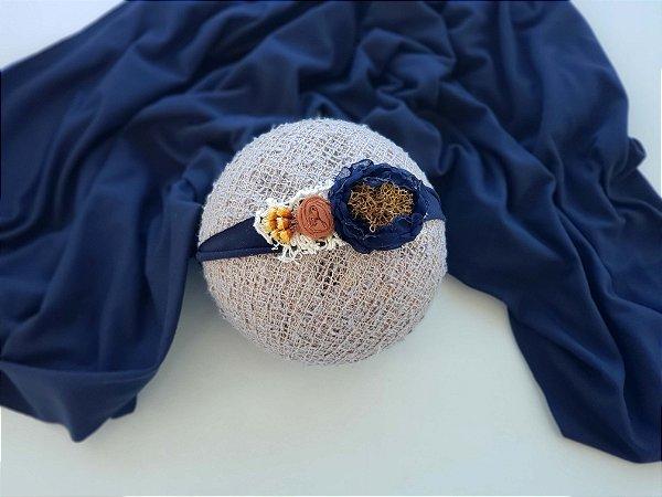 Wrap Malha com Headband Azul Marinho
