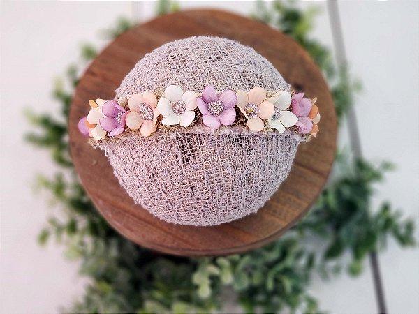 Coroa Flores Salmão com Rosa