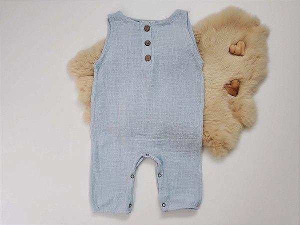 Macacão Gaze Algodão Azul Bebê