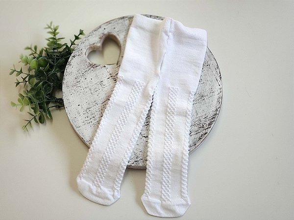 Meia Calça Trabalhada Branca Baby
