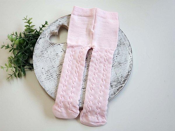 Meia Calça Trabalhada Rosa Baby
