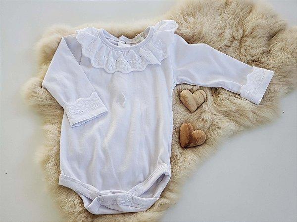 Body Bebê Menina Algodão Branco Gola Laise